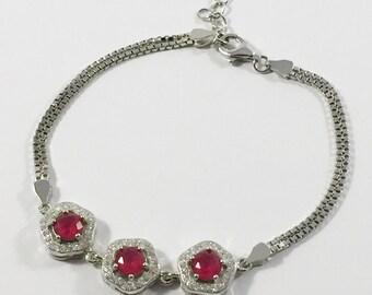 Sterling Silver Ruby, Cubic Zirconia Bracelet