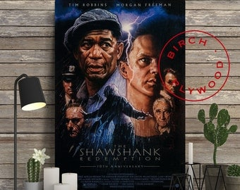 THE SHAWSHANK REDEMPTION - Poster on Wood, Stephen King, Tim Robbins, Morgan Freeman, Print on Wood, Birthday Gift, Movie Poster, Wood Gift