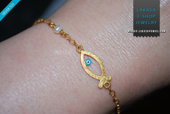 enamel fish eye bracelet 925 sterling silver gold plated fine jewellery pearl in chain best idea gift for her christmas birthday anniversary