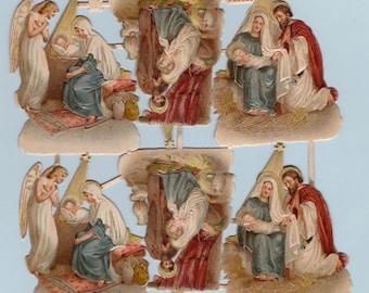 Authentic Victorian Nativity Scenes, Embossed, Die-cut #209