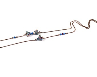 Origami B-Berlingot asymmetrical Necklace - blue violet necklace
