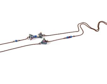 Origami B-Berlingot asymmetrical Necklace - blue violet necklace