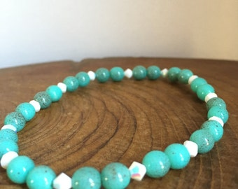 Speckled Turquoise and Chalk Swarovski Crystal Bracelet