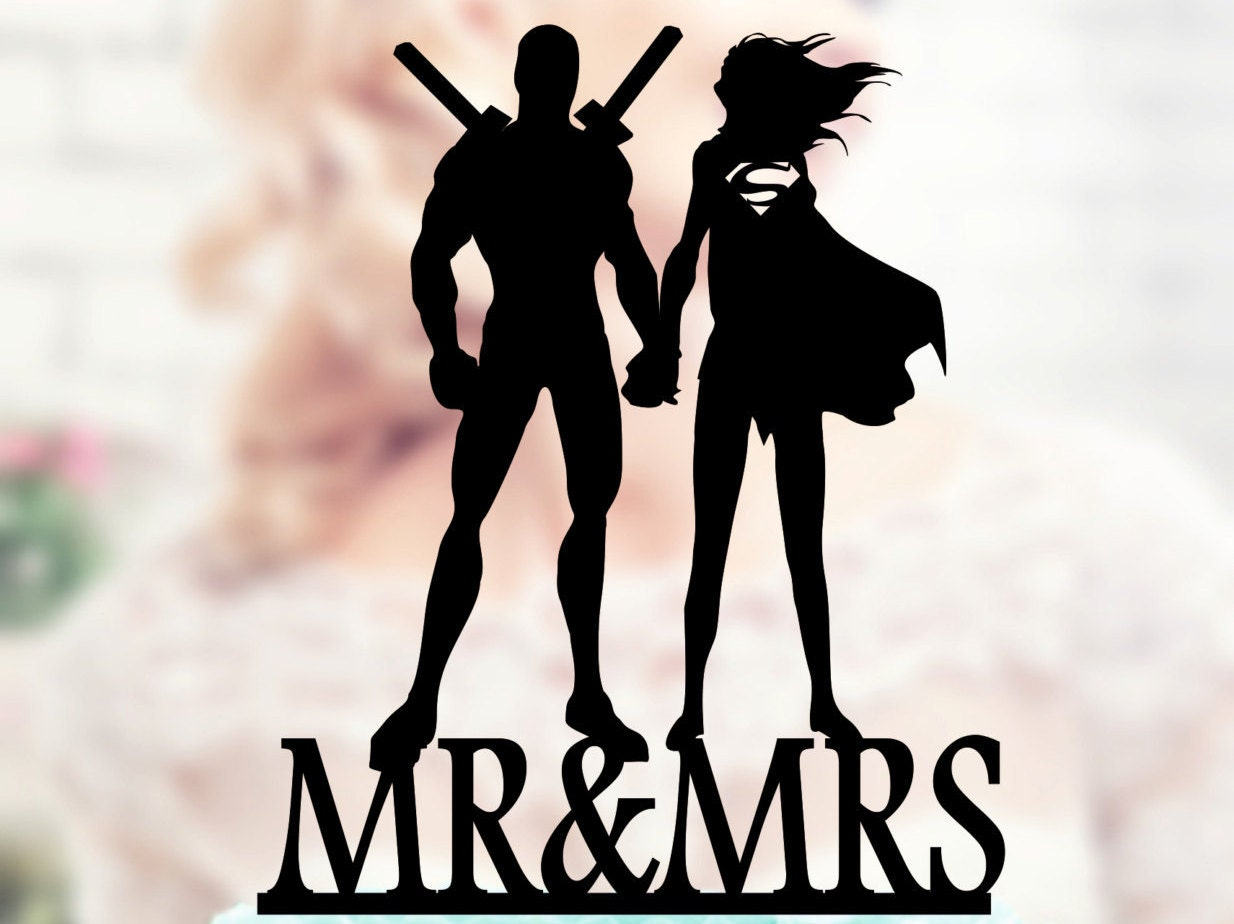 deadpool wedding deadpool wedding ring Deadpool and Supergirl Silhouette Cake Toppers superheroes superhero wedding Acrilic Case Topper Deadpool and Supergirl topper