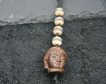 Buddha head and mala bead keychain