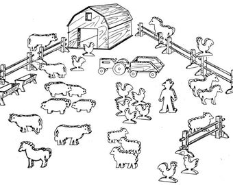 Animal Farm, Play Set #805 - Woodworking / Craft Pattern. Same Size, Outline Drawings