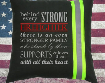 Firefighter BLACK Pillow - Behind every Strong Firefighter Family