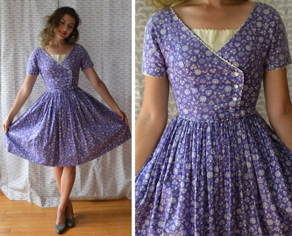 Funny Valentine Dress | vintage purple 50's novelty print day dress | full skirt cotton pockets