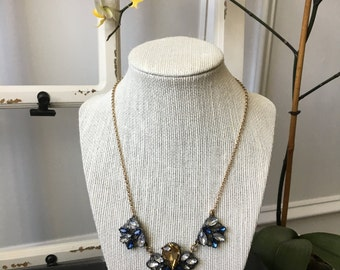 Blue Amber and Crystal Necklace
