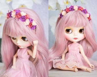 """2 styles. Flower headband for Blythe, BJD, Pullip, Tangkou, Disney Animator, Monster high 17 """" dolls."""