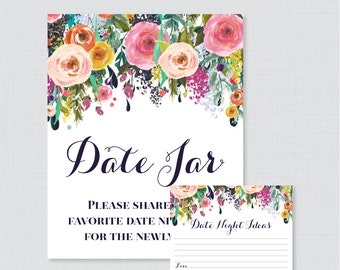 Printable Date Night Jar Activity - Floral Date Night Ideas for the Newlyweds - Colorful Flower Wedding Reception Game/Activity 0003-B