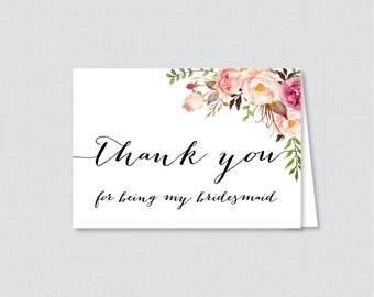 Printable Floral Bridesmaid Thank You Cards - Flower Thank You for Being My Bridesmaid Card, Rustic Pink Flower Thank You Bridesmaid 0004