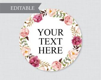 EDITABLE Wedding Tags - Printable Pink Floral Wedding Labels, Rustic Flower Circle Wedding Buffet Labels or Tags, Editable Tags Wedding 0004