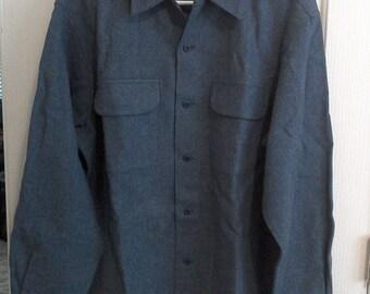 BLUE Color Pendelton Wool Shirt Large // Button up Shirt // Men's Shirt