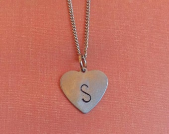 Customized Heart Hand-Stamped Metal Initial Necklace