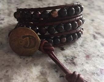 Triple wrap brown leather beaded bracelet
