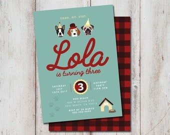 Dog Birthday INVITATION, Dog invitation, Dog Birthday, Printable, Personalized, Birthday, Plaid, Dog Invitation, Pet Party, Dog Party