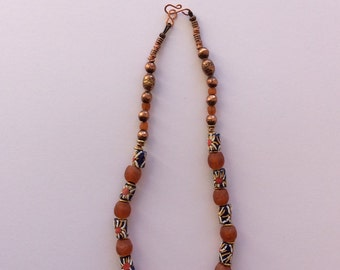 Orange recycled Krobo and Ethiopian copper beaded necklace
