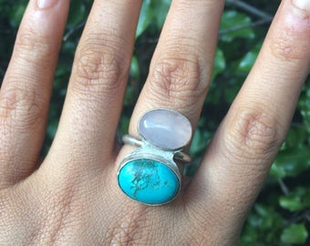 Turquoise & Rose Quartz Ring - Sterling Silver Ring Size 8 / Turquoise Ring / Two Stone Ring / Statement Ring /  Multi Stone Ring