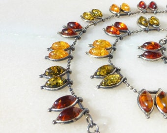 Sterling Silver and Amber, Green, Honey and Cognac Necklace