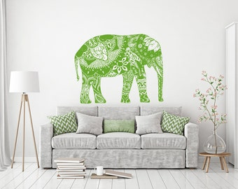 Boho Elephant Wall Decal Bohemian Decals Bedding Decor Yoga Decal Mandala Home Decor Boho Sticker Bedroom Moroccan Yoga Studio Decor kp15