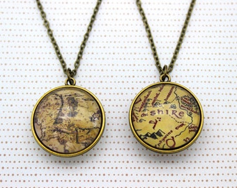 Lord of the Rings, Double Sided Necklace 'Middle Earth Map' & 'The Shire Map' Two Sided Necklace.