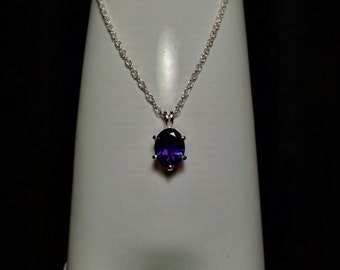 Amethyst Gemstone Solid Sterling Silver Necklace