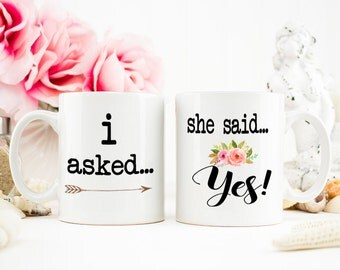 Engagement Announcement Mug, I asked, She said yes mug, Engagement Gift, He asked, Engaged Mug, I said yes, Engaged, Engagement Photo, Engag