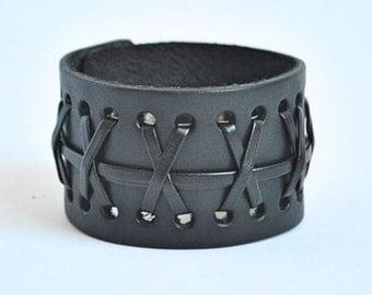 Leather bracelet, extra wide black leather strap with crossed straps, Bangle, Cuff Bracelet, rocker bracelet, Bikerarmband, LeMore