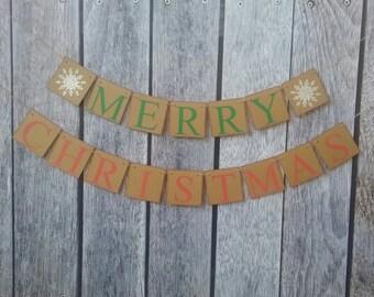 MERRY CHRISTMAS banner, christmas garland, christamas mantel decor, christmas decorations, christmas signs