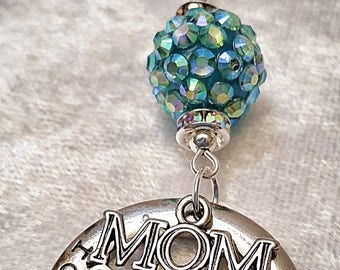 "Mother's Day necklace with turquoise crystal bead, embellishments and tags ""mom"" and ""forever in my heart"",handmade,vintage,boho,steampunk"