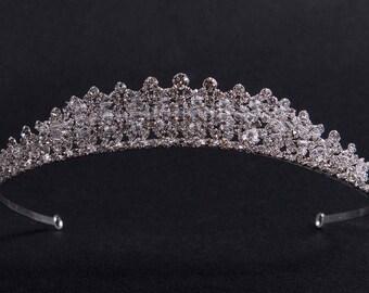 "Tiara ""Queen"", Crystal Crown,Bridal Tiara,Swarovski Crystal,Wedding tiara,Crown,Czech stones,accessory,royal diadem"