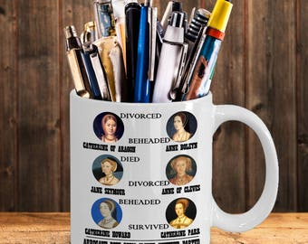 Wives of Henry VIII history buff mug - Catherine of Aragon - Anne Boleyn - Jane Seymour - Anne of Cleves - Catherine Howard - Catherine Parr