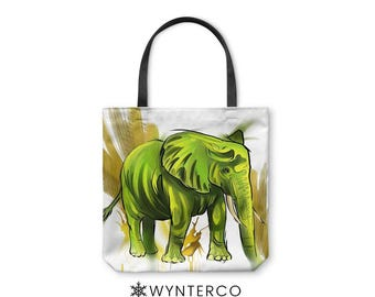 TOTE BAG - Elephant  Tote Bag - Canvas tote bag, Watercolor Elephant Tote Bag, Green shoulder carry bag, Yoga Tote Bag Wynterco Paint tote