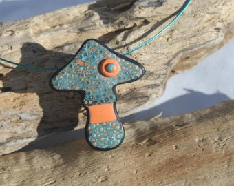 Pendant blue orange mushroom