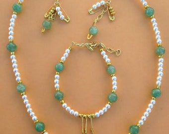 Faux Pearl and Fluorite necklace, earring and bracelet set