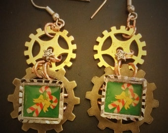 Steampunk CandyCane vintage style earings