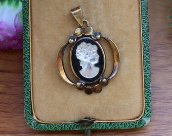 Vintage Bohemian Cameo Pendant Solid Silver Gilt For Necklace
