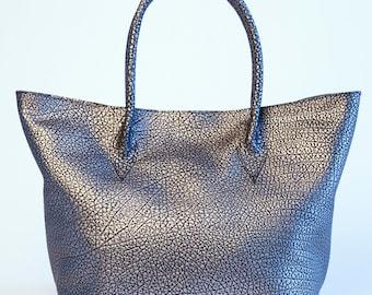 Black/Metallic Leather Tote bag/handbag