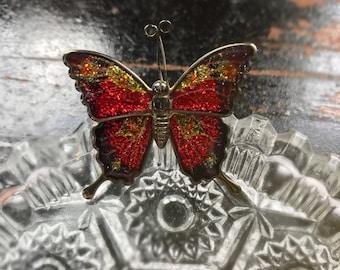 Vintage Red Enamel Butterfly Brooch Goldtone