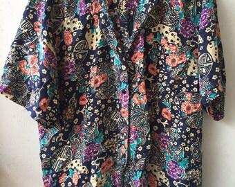 Campagnie Internationale Whistles 100% Silk 1990s Vintage Short-Sleeve Shirt Size Large