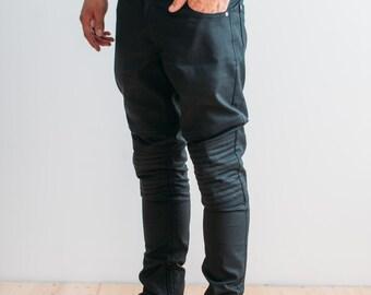 SALE - 20%!!! Mens black jeans/detailed jeans/leather look jeans/ biker jeans
