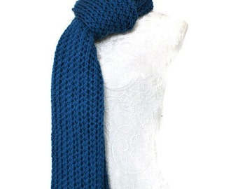 Super Chunky Knitted Scarf // Long Knitted Scarf // Long Warm Womens Scarf // Blue Chunky Knit Scarf // Unique Handmade Scarf