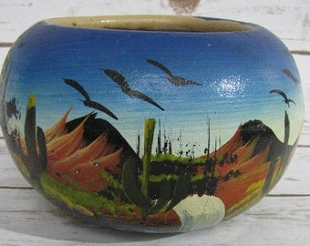 Mexican Folk Art Pottery Terracotta Hand Painted Round Planter~ Dessert Scene Mexican Pottery ~ Mexican Flower Pot Hand Painted
