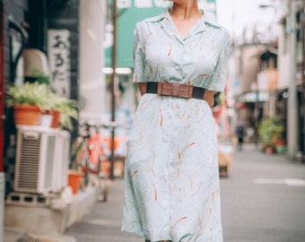 Dress 1950's vintage Showa retro custom-made in Japan Japanese pattern