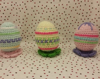 Embroidered Easter Egg Amigurumi with Flower shaped stand