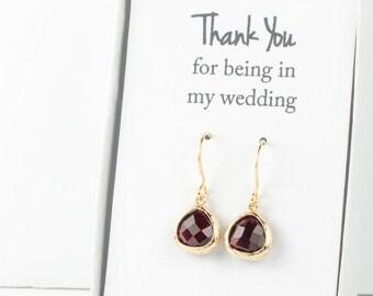 Tiny Garnet Gold Earrings, Gold Red Earrings, Garnet Wedding Jewelry, Bridesmaid Gift, Bridesmaid Earrings, Red Bridal Accessories
