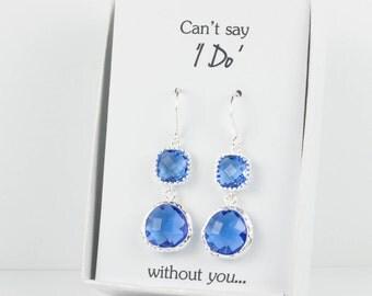 Long Sapphire Blue Silver Earrings, Silver Blue Earrings, Blue Wedding Accessories, Bridesmaid Jewelry, Blue Wedding Jewelry