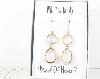 Long White Opal Gold Teardrop Earrings, White Opal Earrings, Bridesmaid Jewelry, Bridesmaid Earrings, Wedding Jewelry, Bridal Accessories
