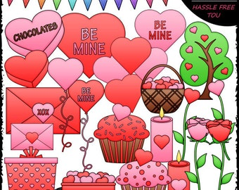 Valentine's Day Stuff Clip Art and B&W Set